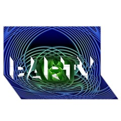 Swirling Dreams, Blue Green Party 3d Greeting Card (8x4)