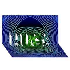 Swirling Dreams, Blue Green Hugs 3d Greeting Card (8x4)