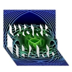Swirling Dreams, Blue Green WORK HARD 3D Greeting Card (7x5)
