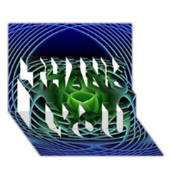 Swirling Dreams, Blue Green THANK YOU 3D Greeting Card (7x5)