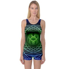 Swirling Dreams, Blue Green Women s Boyleg One Piece Swimsuits