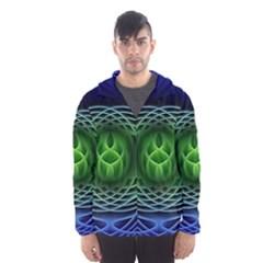 Swirling Dreams, Blue Green Hooded Wind Breaker (Men)