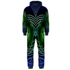 Swirling Dreams, Blue Green Hooded Jumpsuit (Men)