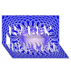 Swirling Dreams, Blue Happy New Year 3d Greeting Card (8x4)