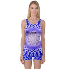 Swirling Dreams, Blue Women s Boyleg One Piece Swimsuits