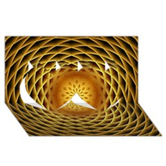 Swirling Dreams, Golden Twin Hearts 3d Greeting Card (8x4)