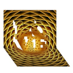Swirling Dreams, Golden LOVE 3D Greeting Card (7x5)