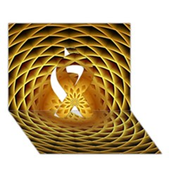 Swirling Dreams, Golden Ribbon 3D Greeting Card (7x5)