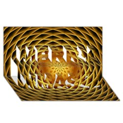 Swirling Dreams, Golden Merry Xmas 3D Greeting Card (8x4)