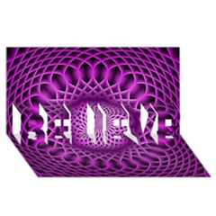 Swirling Dreams, Hot Pink BELIEVE 3D Greeting Card (8x4)