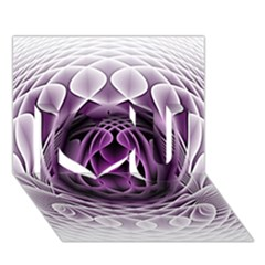 Swirling Dreams, Purple I Love You 3d Greeting Card (7x5)