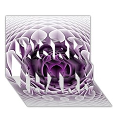 Swirling Dreams, Purple WORK HARD 3D Greeting Card (7x5)
