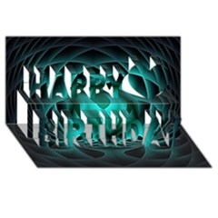 Swirling Dreams, Teal Happy Birthday 3d Greeting Card (8x4)