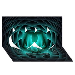 Swirling Dreams, Teal Twin Hearts 3D Greeting Card (8x4)