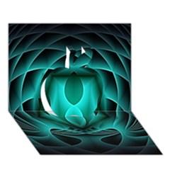 Swirling Dreams, Teal Apple 3D Greeting Card (7x5)