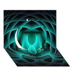 Swirling Dreams, Teal Circle 3d Greeting Card (7x5)