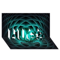 Swirling Dreams, Teal HUGS 3D Greeting Card (8x4)