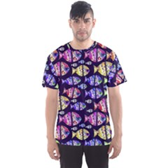 Colorful Fishes Pattern Design Men s Sport Mesh Tees