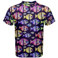 Colorful Fishes Pattern Design Men s Cotton Tees
