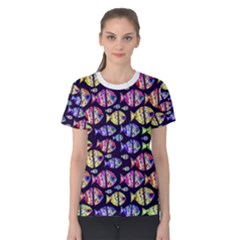 Colorful Fishes Pattern Design Women s Cotton Tees