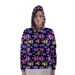 Colorful Fishes Pattern Design Hooded Wind Breaker (Women)