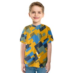 Blue yellow shapes Kid s Sport Mesh Tee