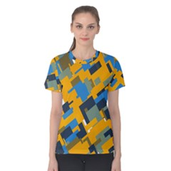 Blue Yellow Shapes Women s Cotton Tee