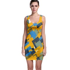 Blue yellow shapes Bodycon Dress