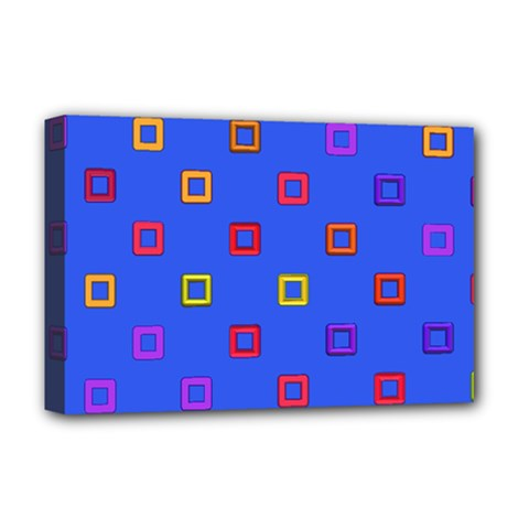 3d squares on a blue background Deluxe Canvas 18  x 12  (Stretched)