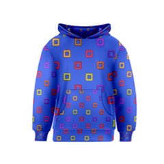 3d squares on a blue background Kid s Pullover Hoodie