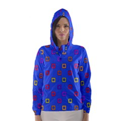 3d squares on a blue background Hooded Wind Breaker (Women)
