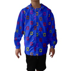 3d squares on a blue background Hooded Wind Breaker (Kids)