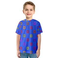 3d squares on a blue background Kid s Sport Mesh Tee