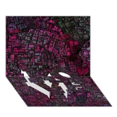 Fantasy City Maps 1 Love Bottom 3d Greeting Card (7x5)
