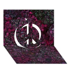 Fantasy City Maps 1 Peace Sign 3d Greeting Card (7x5)