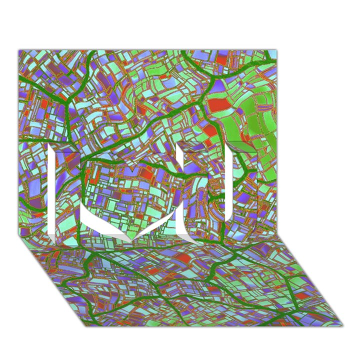 Fantasy City Maps 2 I Love You 3D Greeting Card (7x5)