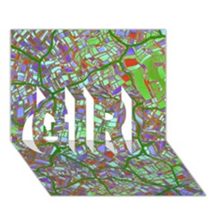 Fantasy City Maps 2 Girl 3d Greeting Card (7x5)