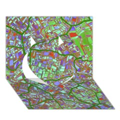 Fantasy City Maps 2 Heart 3d Greeting Card (7x5)