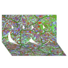 Fantasy City Maps 2 Twin Hearts 3D Greeting Card (8x4)