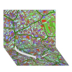 Fantasy City Maps 2 Heart Bottom 3D Greeting Card (7x5)