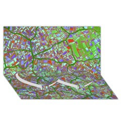 Fantasy City Maps 2 Twin Heart Bottom 3d Greeting Card (8x4)