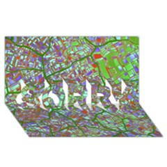 Fantasy City Maps 2 Sorry 3d Greeting Card (8x4)