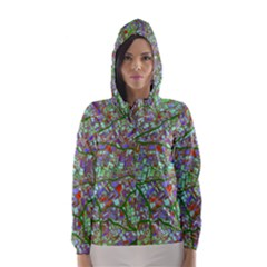 Fantasy City Maps 2 Hooded Wind Breaker (Women)