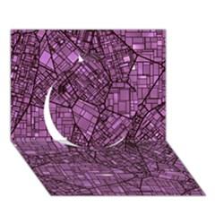 Fantasy City Maps 4 Circle 3d Greeting Card (7x5)