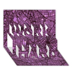 Fantasy City Maps 4 WORK HARD 3D Greeting Card (7x5)