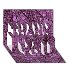 Fantasy City Maps 4 THANK YOU 3D Greeting Card (7x5)