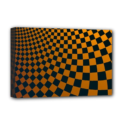 Abstract Square Checkers  Deluxe Canvas 18  x 12