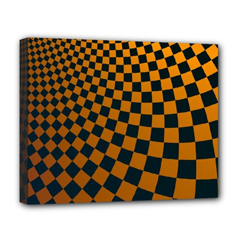 Abstract Square Checkers  Deluxe Canvas 20  x 16