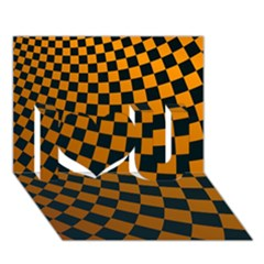 Abstract Square Checkers  I Love You 3d Greeting Card (7x5)