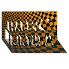 Abstract Square Checkers  Happy Birthday 3d Greeting Card (8x4)